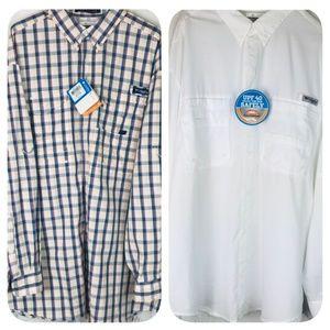 COLUMBIA PFG Lot 2 L/S Vented Fishing Shirts NWT